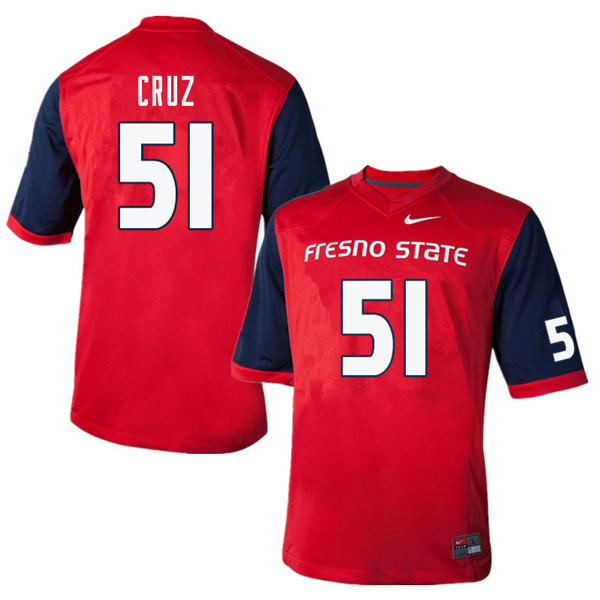 Men #51 Alex Cruz Fresno State Bulldogs College Football Jerseys Sale-Red