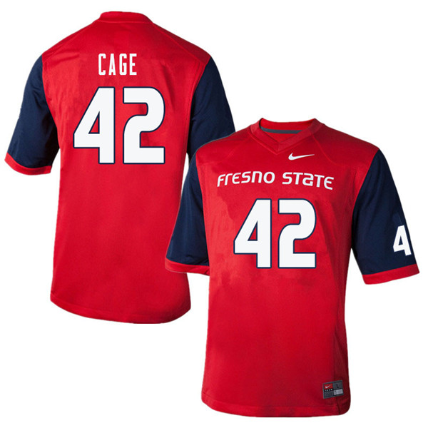 Men #42 Richard Cage Fresno State Bulldogs College Football Jerseys Sale-Red