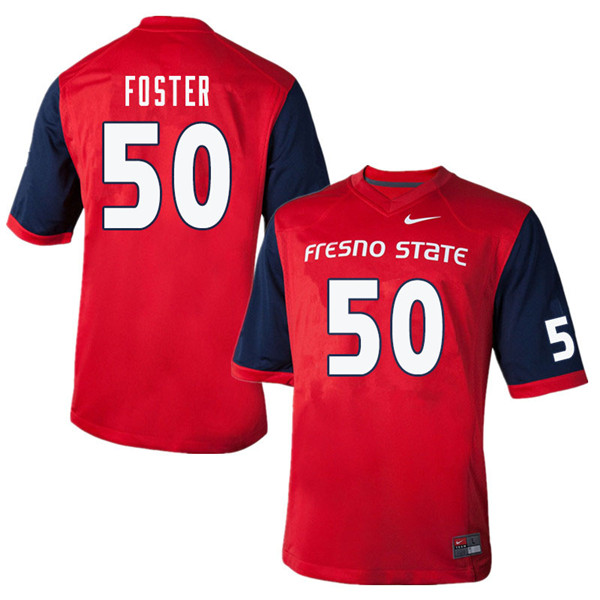 Men #50 Tainoa Foster Fresno State Bulldogs College Football Jerseys Sale-Red