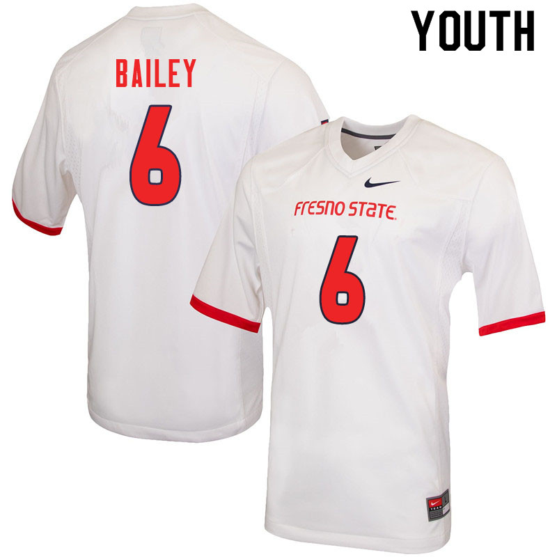Youth #6 Levelle Bailey Fresno State Bulldogs College Football Jerseys Sale-White