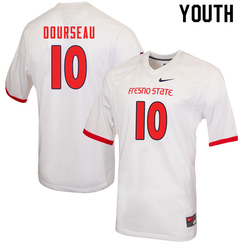 Youth #10 Shawn Dourseau Fresno State Bulldogs College Football Jerseys Sale-White