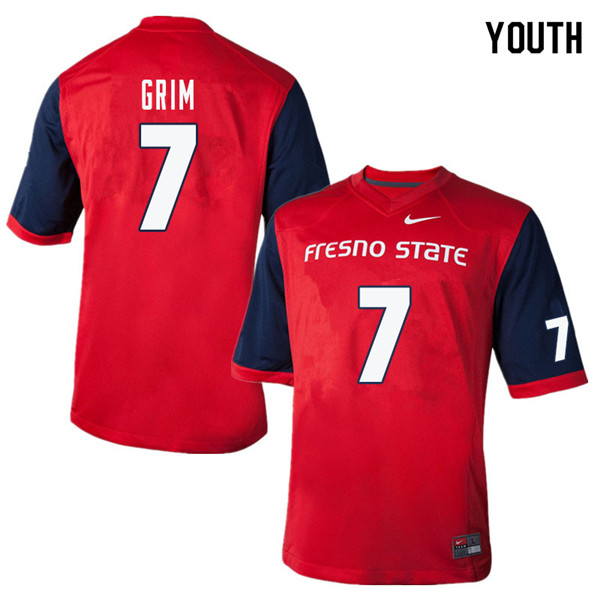 Youth #7 Derrion Grim Fresno State Bulldogs College Football Jerseys Sale-Red