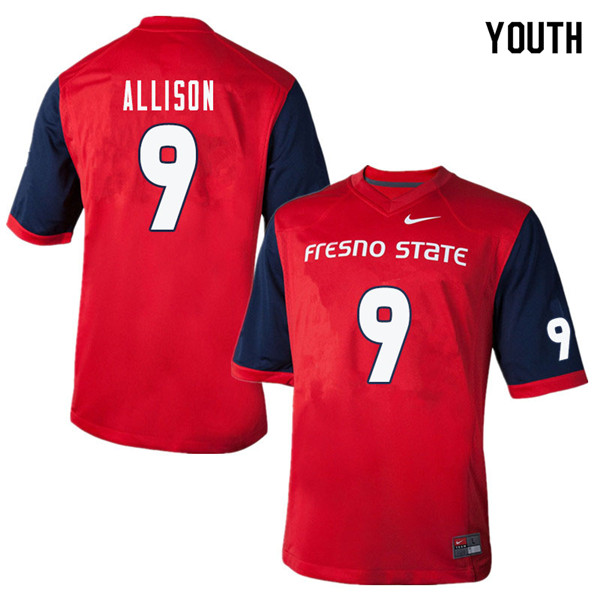 Youth #9 Jeffrey Allison Fresno State Bulldogs College Football Jerseys Sale-Red